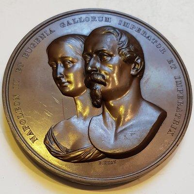 英國銅章1855 UK Napoleon III & Eugenie London Reception Medal