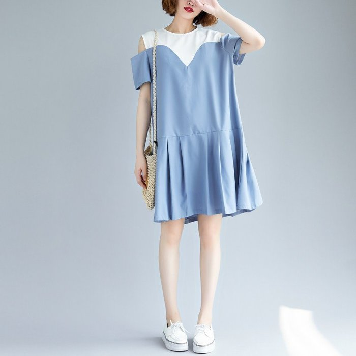 大尺碼上衣 大碼女裝胖MM夏季中長款拼色圓領露肩雪紡連身裙寬松顯瘦百褶裙子 洋裝