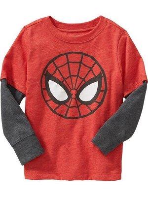($350起標) 淇淇公主~美國Old Navy~男童假2件式Spiderman長袖上衣 (現貨) 2Y