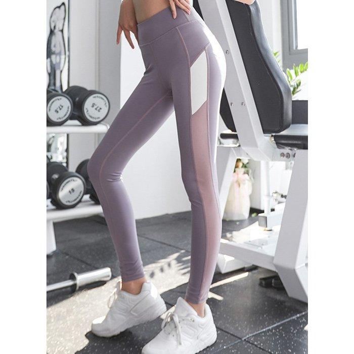 FuNFang_撞色線條高腰提臀運動緊身褲 瑜珈跑步健身運動褲*3色
