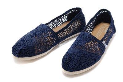 ☆╮A&T-TOMS╭☆專賣正品TOMS帆布鞋Morocco Crochet蕾絲簍空款【NAVY海軍藍】現貨-預購 台中市