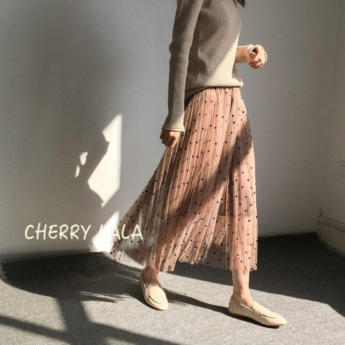 CHERRY LALA 韓。實拍。 18冬。顯瘦中長款雙層加厚高腰點點紗裙A字裙半身裙百褶裙-四色  SJ12125