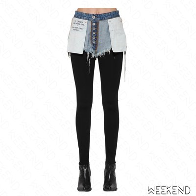 【WEEKEND】 UNRAVEL 異材質 拼接 假兩件 裡外反穿 牛仔 貼腿褲 藍+黑 18秋冬