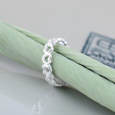 925純銀 戒指 飾品 亮面  縷空愛心  活動可調 食指戒 尾戒 開口 可微調 純銀防過