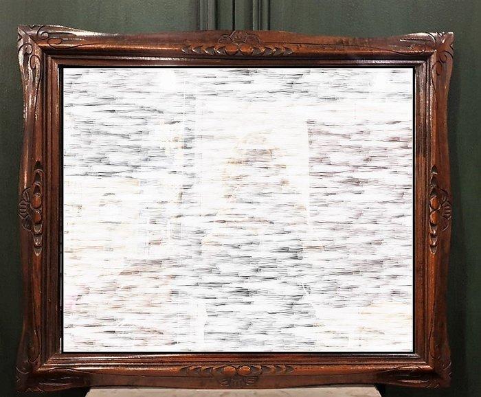 【卡卡頌  歐洲古董】🌷法國古董 手工 胡桃木雕刻  掛鏡  古董鏡  相框  MI0075