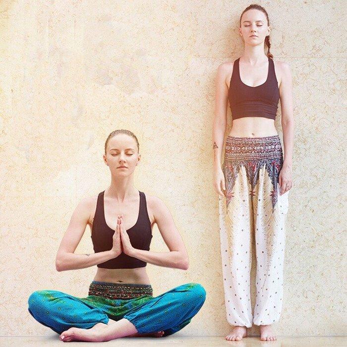 瑜珈褲海邊寬鬆肚皮舞瑜珈褲民族風燈籠褲尼泊爾印花泰國瑜珈長褲--崴崴安