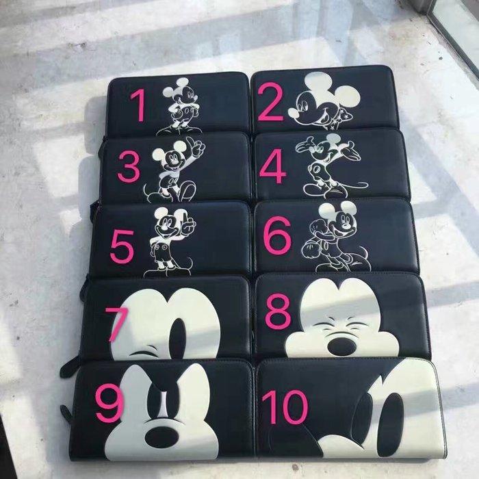 美國正品 COACH 54000 蔻馳&Disney系列米奇錢包 拉鏈款長夾 手拿包 黑色平紋真皮質感好