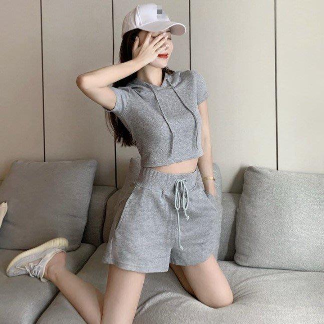 ❤Princess x Shop❤休閒連帽短袖衛衣帽衫+運動短褲兩件套套裝TJN15-46-2女裝