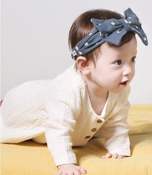 【現貨+預購】韓版兒童髮帶寶寶可愛波點蝴蝶結鬆緊髮帶頭飾