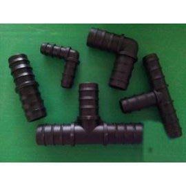 【三通、彎頭、直接】PE管水管接頭 連接配件 灌溉輸水管接頭 彎頭 倒刺接頭,40個/包,可混合選-5101007