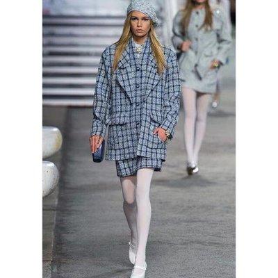 【妖妖代購】Chanel  春秋毛呢西裝格子外套/短裙套装