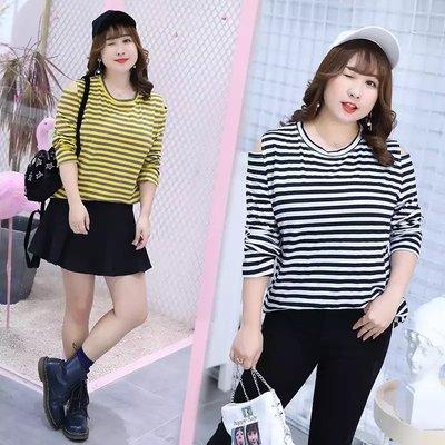 ✿plump girl 甜美✿中大尺碼女裝孕婦裝條紋露肩不規則長袖T打底衫QYS053