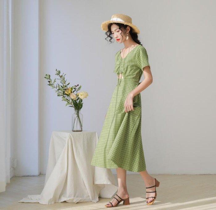 莎芭 洋裝 夏季新品連身裙 韓國女裝 閨蜜裝 格子長裙 綠色裙子 直播間人氣款