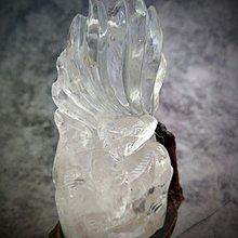 白水晶 九尾狐+樹根雕座(F17)