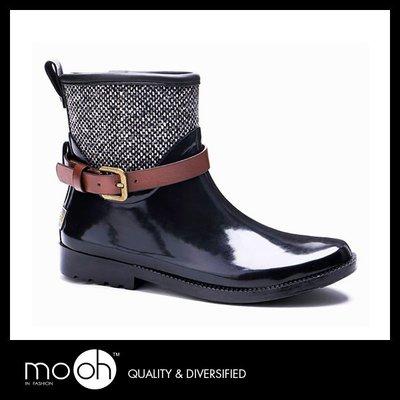 防水皮帶扣英倫短筒雨鞋 mo.oh (歐美鞋款)