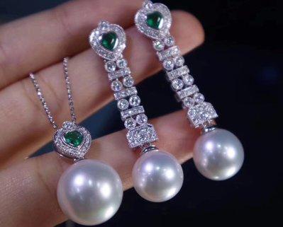 詢價 -南洋白珍珠綠寶石耳環Southsea white pearl emerald earrings 歡迎行家合作,買到賺到