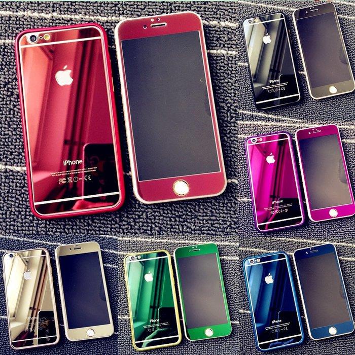 千夢貨鋪-6plus鋼化玻璃膜 蘋果6s電鍍全屏鏡面膜 4.7前后彩色保護膜