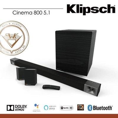《 南港-傑威爾音響 》美國 Klipsch 古力奇 Cinema 800 SoundBar 5.1 代理商公司貨