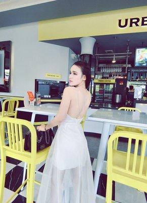 i crazy 88~*【現貨出清】春季新款韓版夜店大露背雙吊帶性感深V領網紗透視連衣裙洋裝-黑色-白色(1364-5)