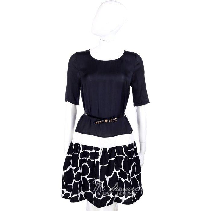 米蘭廣場 CLASS roberto cavalli 黑色拼接圖紋下襬短袖洋裝(附腰帶) 1320306-01 44號