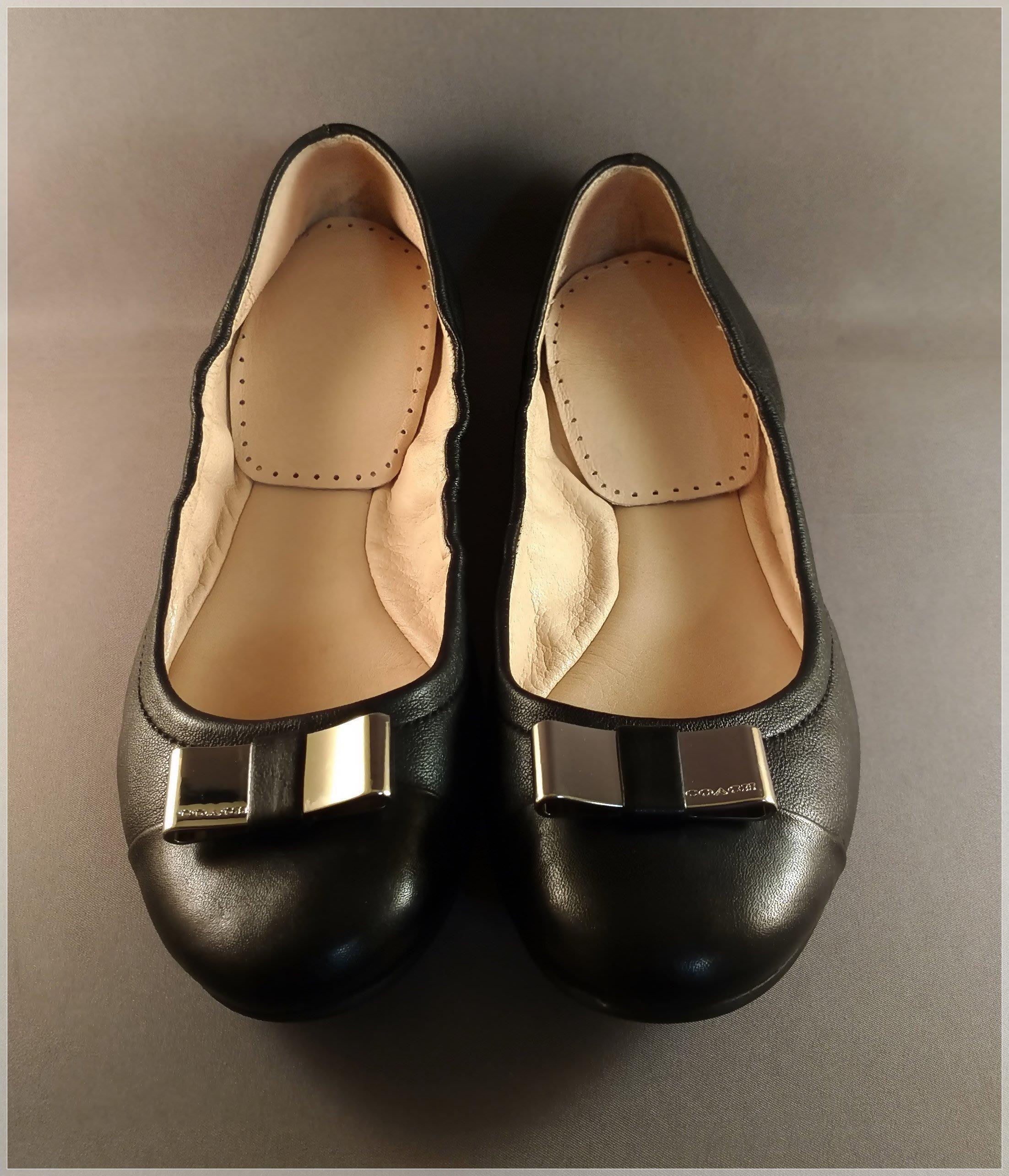 COACH【蔻馳】正品 Q2030 可摺疊 黑色真皮 平底 芭蕾 娃娃鞋【尺寸8.5號】
