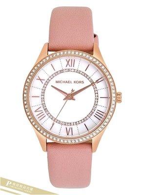 雅格時尚精品代購 Michael Kors腕錶 MK2690 氣質真皮錶帶腕錶 珍珠母貝面 晶鑽MK手錶 美國代購