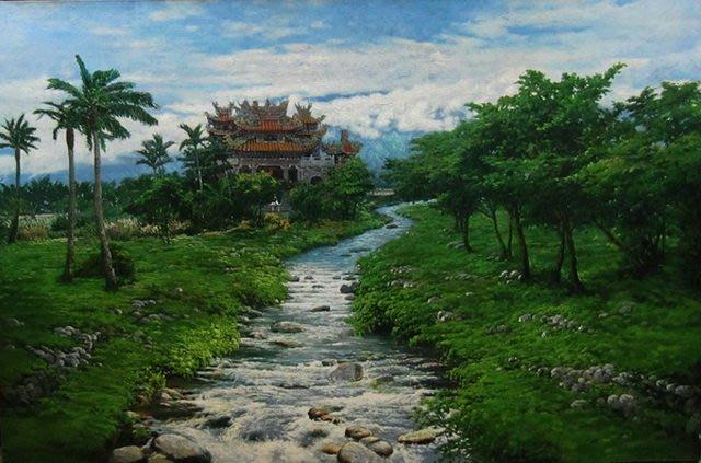 古藝閣 大陸知名畫家何樹海  雨溪俸神廟《台灣 花蓮》