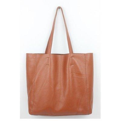 手提包 真皮 托特包-經典純色肩背牛皮女包包2色73vi22[獨家進口][米蘭精品]