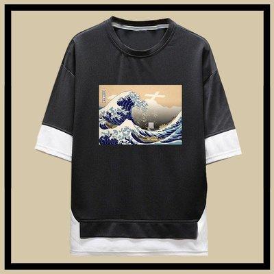 日本福島核廢水神奈氚沖浪里輻世繪短袖t恤男女夏季五分袖假兩件
