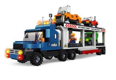 奧尼斯城市大車系列相容樂高454片/連結拖車/拖車巴士/大拖車積木組/兒童益智DIY拼裝玩具/益智積木/模型