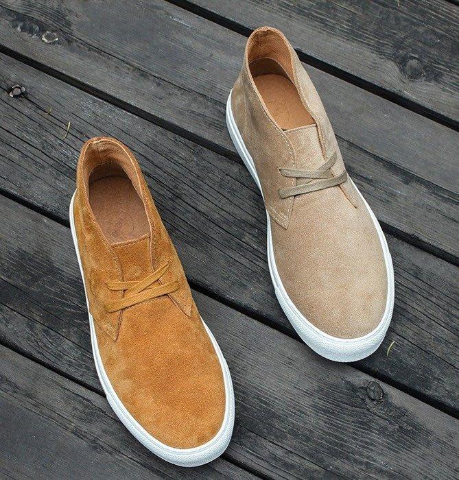 日暮瓦宅 SA68 歐美休閒真皮麂皮綁帶男短靴男鞋休閒靴工作靴