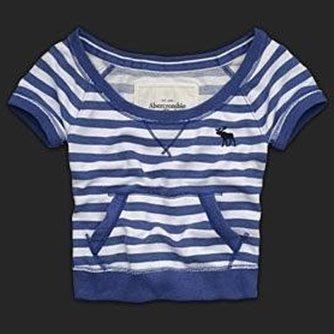 大降價!全新美國帶回Abercrombie & Fitch A&F MARISA 藍色條紋短版上衣,無底價!免運費!