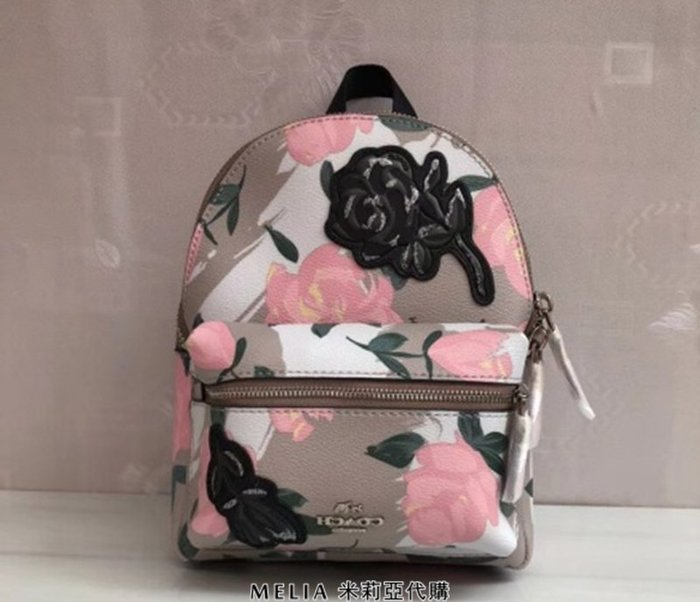 Melia 米莉亞代購 COACH 2018年新款 F25869 春季新款 雙肩包 書包 背包 旅行包 粉色花朵