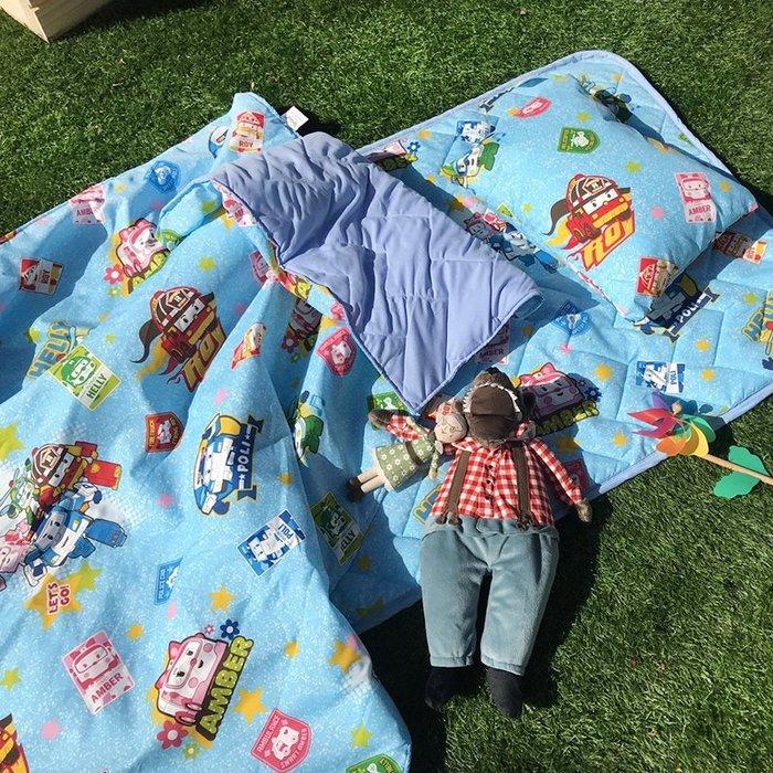 睡墊組 / 兒童標準【波力救援小英雄藍】幼兒專用睡墊三件組  高密度磨毛布  戀家小舖台灣製ABF088