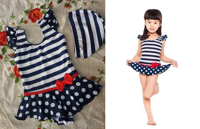 KINI*奧可那*兒童泳裝-甜蜜海軍風藍白紅-水玉連身裙女童萊卡泳衣S-XL-特價820元