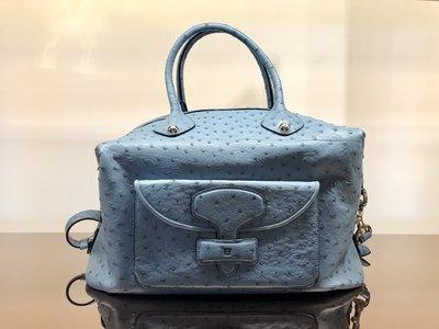 * LOEWE * Handbag May 天空藍 鴕鳥皮 手提肩背包 全新