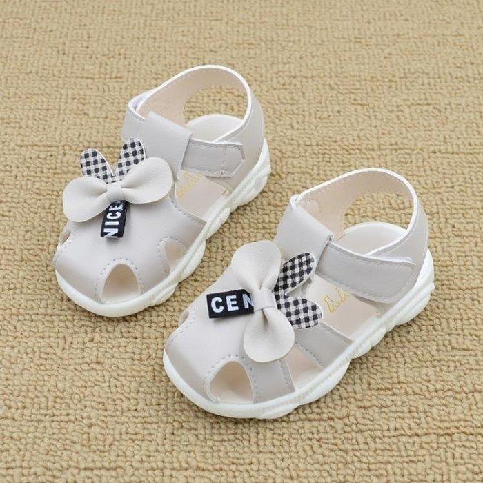 女寶寶涼鞋夏季新款軟底防滑兒童叫叫鞋皮面包頭學步鞋小童公主鞋MTX605