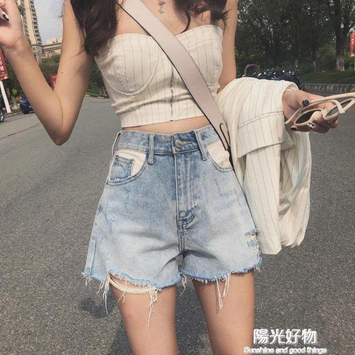 高腰泫雅同款破洞牛仔短褲女夏季a字寬鬆顯瘦闊腿熱褲超短褲子潮