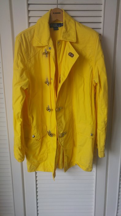 【POLO by Ralph Lauren 】香蕉黃金屬鉤釦厚實風衣外套
