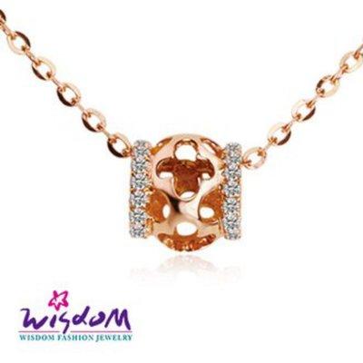 威世登 天然鑽石《心動系列》時來運轉 K金小套鍊 足成色14K玫瑰金鑲製-韓風設計-DB01801-3-BEHXX