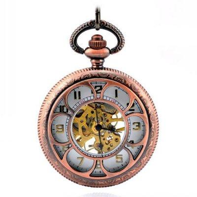 英倫六花瓣 紅銅鏤空 機械懷表 復古 鏈 時尚男女士禮品手表