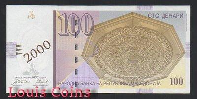 【Louis Coins】B621-MACEDONIA--2000馬其頓加紙幣100 Denari