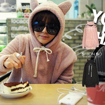 享SO中大尺碼專賣店‧零碼出清‧【B1522】俏皮兔兔造型連帽毛絨上衣