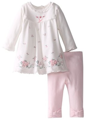 Little Me 簡單大方玫瑰長袖洋裝 粉色蝴蝶結褲2件組 9m 售:690含運