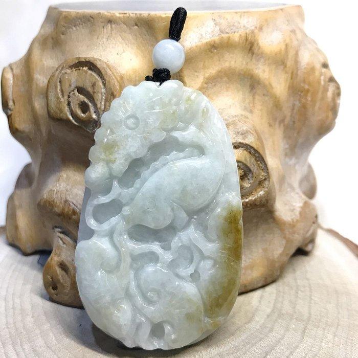 【收藏家】天然翡翠a貨 緬甸玉a貨 荷花鯉魚雕刻 荷包有餘 冰透亮 帶黃翡 水頭飽