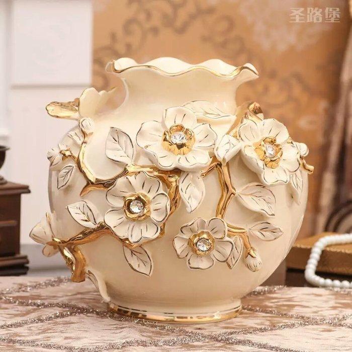 粉紅玫瑰精品屋~歐式高檔浮雕鑲鑽象牙瓷花瓶擺設~