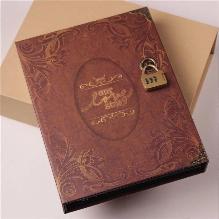 衣萊時尚-密碼鎖復古diy相冊本情侶影集創意自制手工粘貼式禮物 禮盒裝(規格不同價格不同)