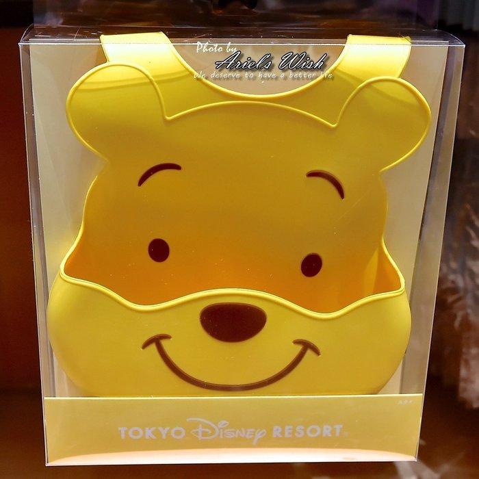 Ariel's Wish-日本迪士尼阿卡將小熊維尼離乳學習二合一用餐耐熱矽膠軟布立體口袋收納圍兜兜BABY滿月彌月周歲禮