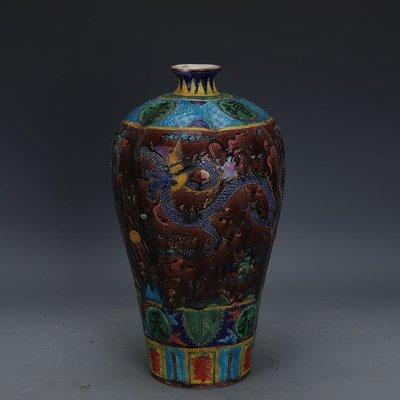 ㊣姥姥的寶藏㊣ 大明嘉靖手工瓷琺華彩龍紋瓜棱梅瓶做舊  出土古瓷器古玩收藏擺件