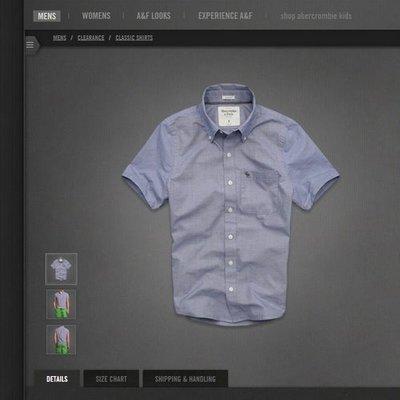 美國AMPM【現貨S146】AF, A&F Latham Pond Shirt 男版藍色襯衫 S M號